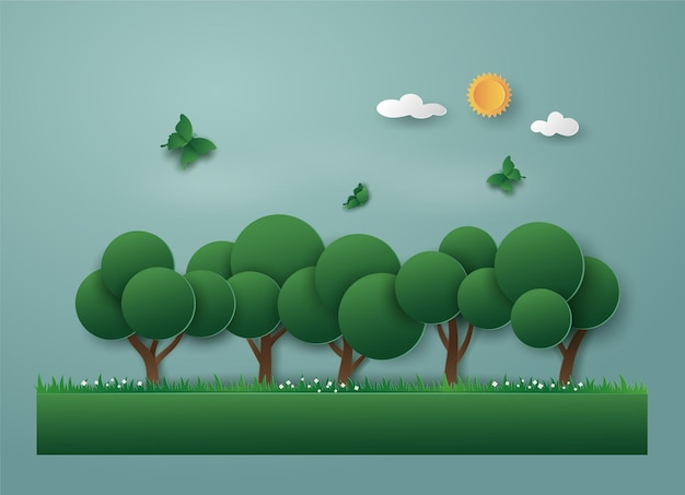Landscape of green nature with eco energy and environment, tree and butterfly.