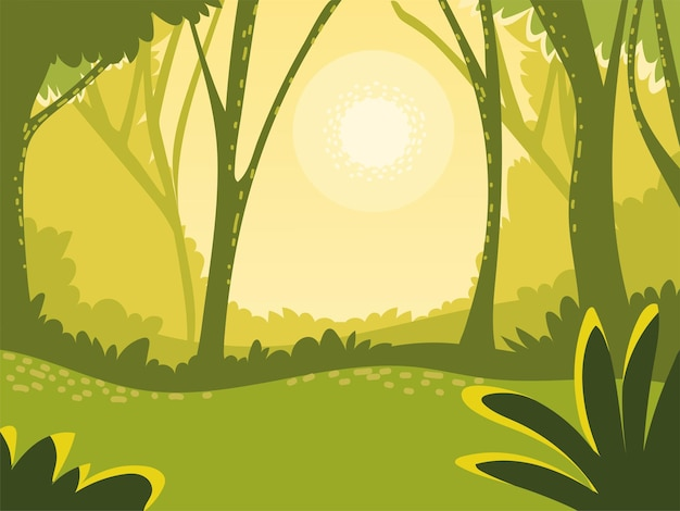 Landscape green scene trees meadow