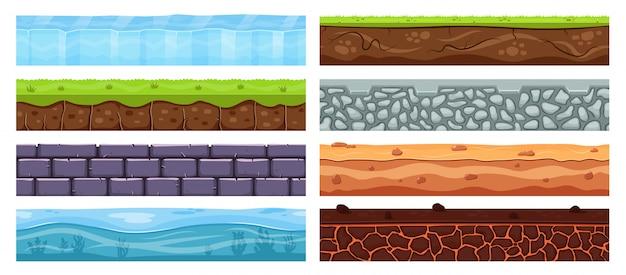 景観の根拠。漫画の土の粘土、考古学の土壌層、埋められた石、草、景観要素のイラストセットと土のテクスチャ。背景レイヤー風景、自然土と岩