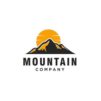 풍경 언덕 산 벡터 로고 디자인