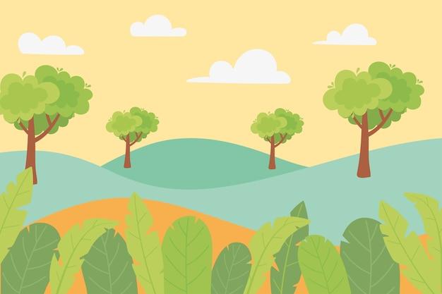 風景丘の木の葉の葉と牧草地の自然のイラスト