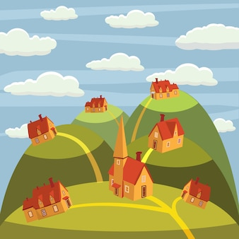 Landscape. houses in the mountains. cartoon style flat, vector illustrations