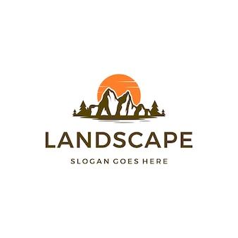 Landscape , iceberg, mountain, sunset logo design