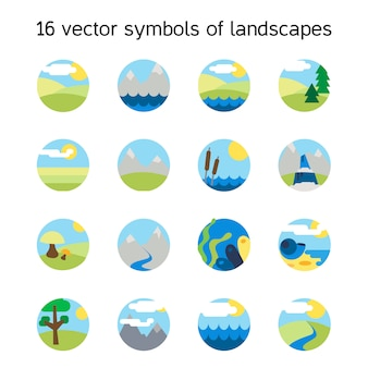Landscape icons collection.  Nature symbols and paysages in round form.