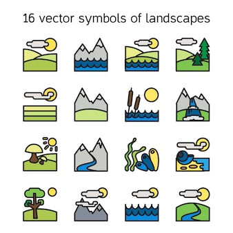 Landscape icons collection. nature symbols and paysages in rectangle form.