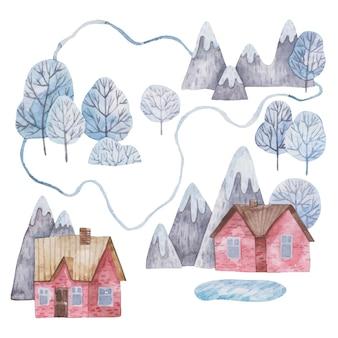산과 호수가 있는 겨울 도시의 풍경 그림 빨간 집 새해 크리스마스