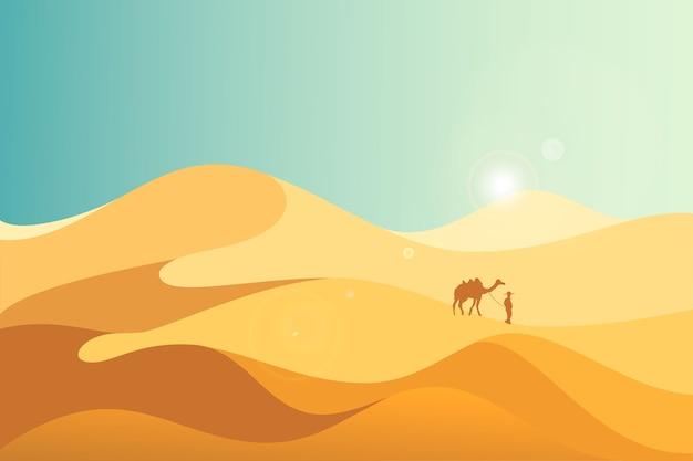 コピースペースと砂漠の黄色い砂丘の風景イラスト。
