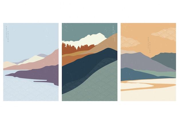 일본 웨이브 스타일과 풍경 그림입니다. 오리엔탈 스타일의 마운틴 디자인.