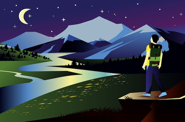 Landscape illustration with mountains in night time. traveler and river view with darck sky, stars and moon.