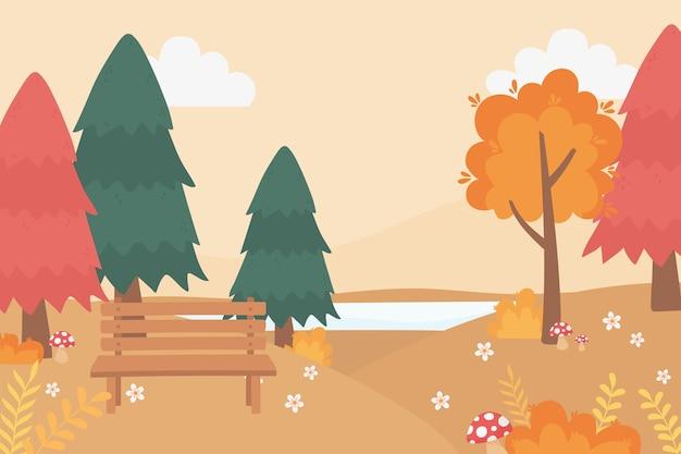 Пейзаж в осенней природе, скамейка в парке, грибные цветы, озеро и деревья