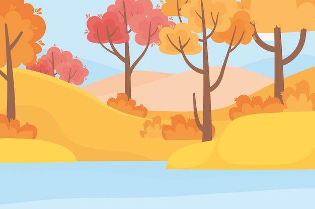 Пейзаж в осенней природе, лесные деревья, трава и озеро
