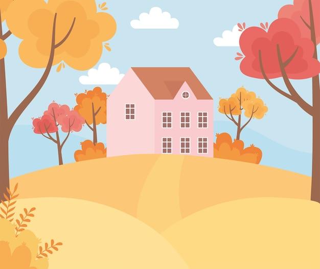 Пейзаж в осенней природе, дом на холме, тропинка, деревья, листья