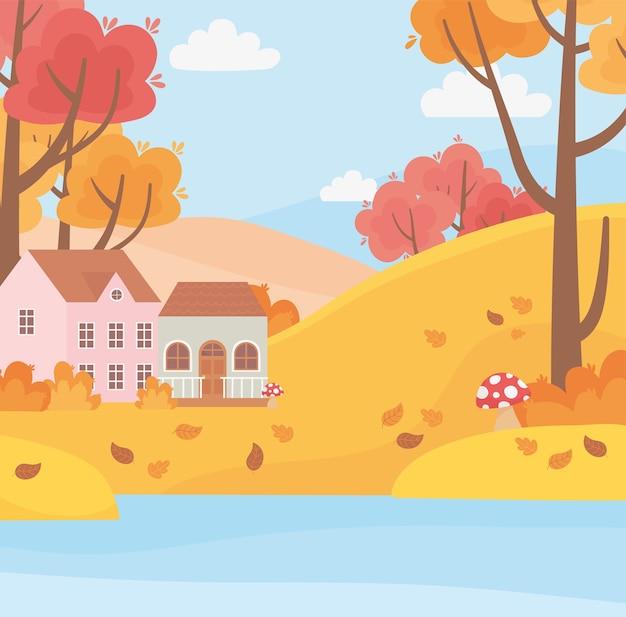 Пейзаж в осенней природе, дома в сельской местности, озеро, деревья, листья, мультфильм