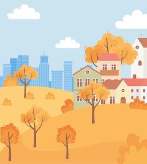 Пейзаж в осенней сцене природы, загородные дома на холмах и фоне городского строительства