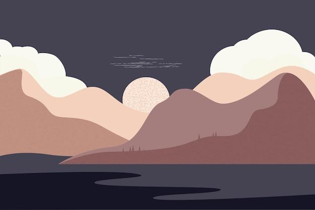 ミニマリストの手描きのパノラマの茶色の色調の空山川の夜のスタイルの風景