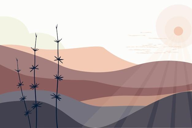 茶色の色調の風景空の山々太陽植物ミニマリストの手描きのパノラマのスタイル