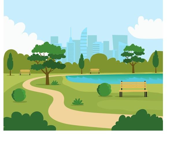 都市公園の風景。ベンチと湖。ベクトルフラットスタイルイラスト。