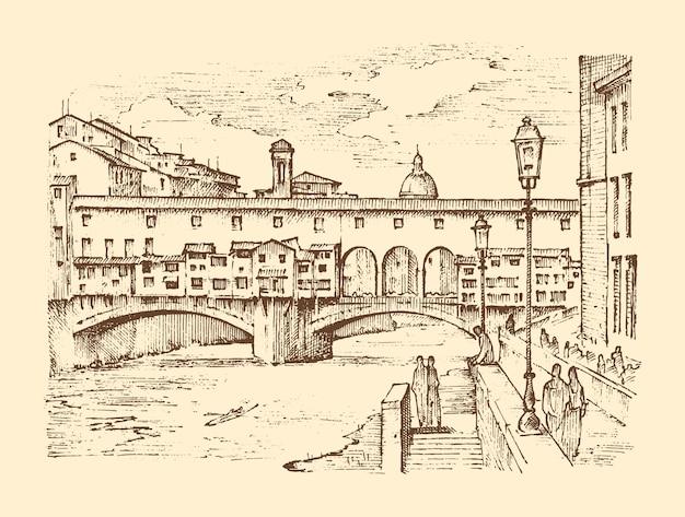 ヨーロッパの町イタリアのフィレンツェの風景。