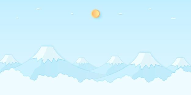 明るい太陽と青い空、紙のアートスタイルと山の風景