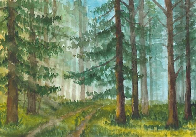 Пейзаж в лесу акварель