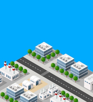Landscape of industrial objects plant, factories, parking