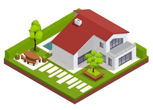 Composizione isometrica del paesaggio con vista del cortile residenziale con casa e cortile con decorazioni moderne