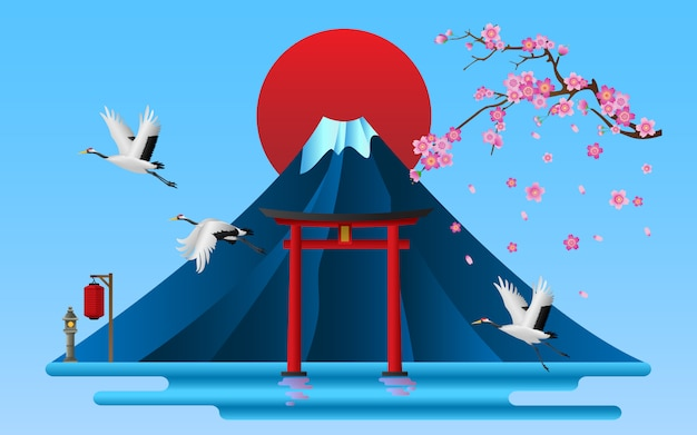 Landscape of japanese cultural symbols, vector illustration