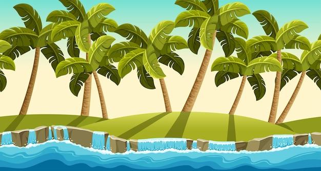 Landscape of jungle waterfall palms