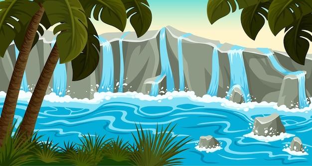 Landscape jungle waterfall on stone rocks