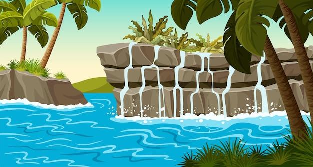 Пейзаж джунглей с водопадом на каменных скалах