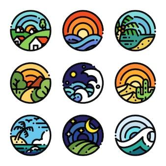 Landscape line art color illustration