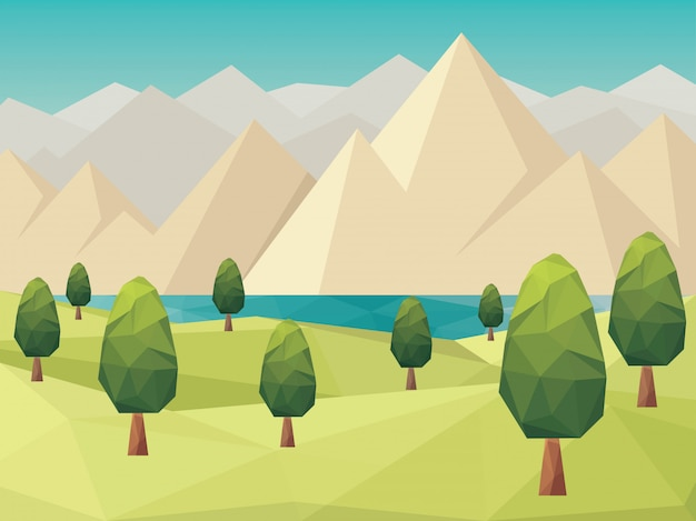 Landscape low poly style background vector