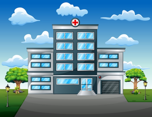 Landscape medical concept with hospital building front view