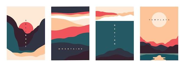 風景ミニマルポスター。山、湖、波と抽象的な幾何学的なバナー。曲線の自然の形をしたベクトルイラストはがき旅行と冒険のチラシ