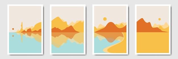 Пейзаж современный минималистичный абстрактный фон в богемном стиле
