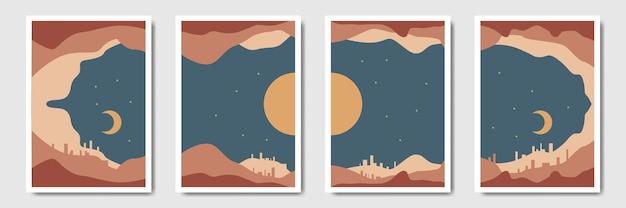 Пейзаж современный минималистичный абстрактный фон в стиле бохо
