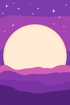 ランドスケープムーンミニマリストポスターパターン背景テンプレート/ tシャツプリントや保育園のポスターデザインのための明るい風景。