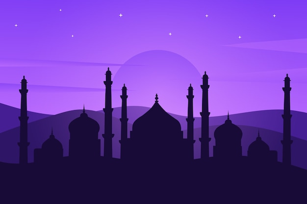 Landscape mosque in the desert that looks beautiful in purple
