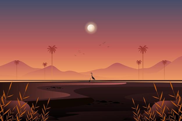 風景山と鳥のシルエット