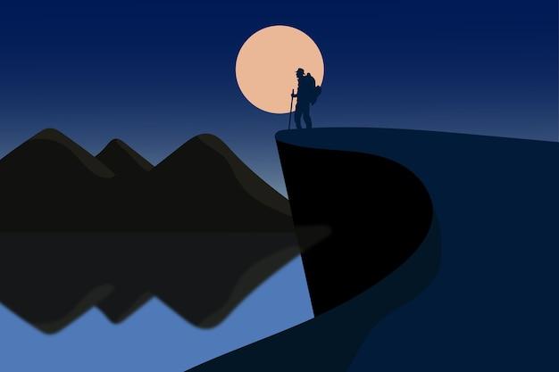 풍경 산악인은 아름다운 풍경을 찾습니다