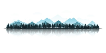 Landscape mountain forest and lake.