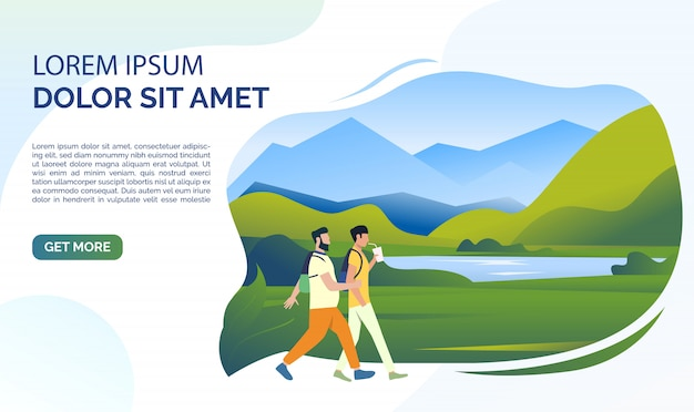 Landscape, mountain lake, meadow, people and sample text