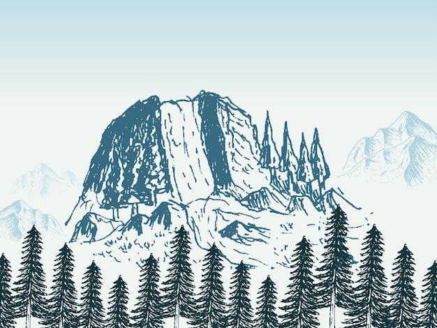 Шаблон дизайна плаката пейзаж горы
