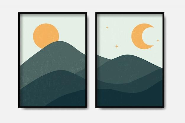 빈티지 스타일의 풍경 산 모양 템플릿 현대 미술