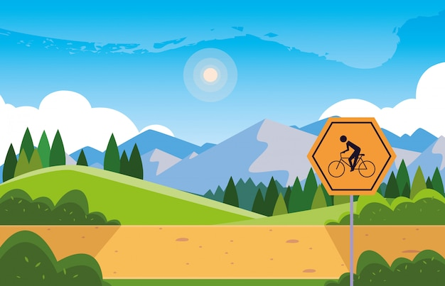 Landscape mountainous with signage for cyclist