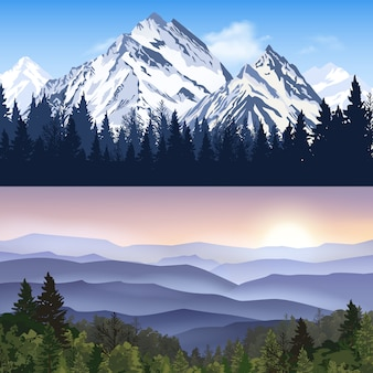 Landscape of mountains banners