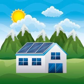 Пейзаж горы дом с панелью солнечной в крыше