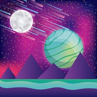 風景の山々月の惑星小惑星のバーチャルリアリティ