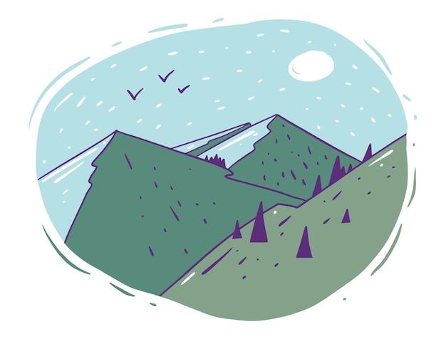 森のイラストデザインの風景山