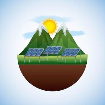 Ландшафтный природный и панельный солнечный